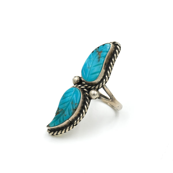 Carved Turquoise Double Leaf Ring // Size: 6