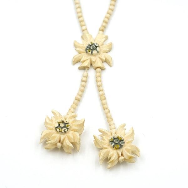 Carved Bone Edelweiss Flower Lariat Necklace