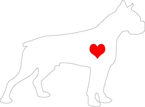 WickedGoodz Vinyl White Heart Boxer Decal - Dog Bumper Sticker - Pet Owner Gift-WickedGoodz