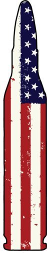 Vinyl American Flag Bullet Decal - Patriotic Bumper Sticker - Great Gun 2nd Amendment Gift-WickedGoodz