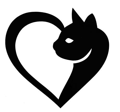 Personalized Heart Shaped Cat Vinyl Decal - Feline Bumper Sticker, for Tumblers, Laptops, Car Windows - Pick Size and Color-WickedGoodz