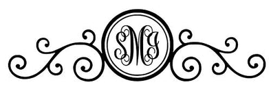 Custom Initial Monogram Decal Scroll Flower Design-WickedGoodz