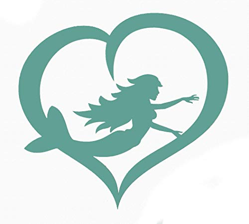 Custom Heart Mermaid Decal - Mermaid Bumper Sticker-WickedGoodz