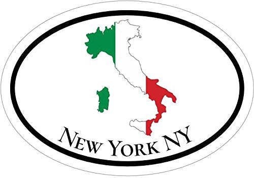 WickedGoodz Oval Italian Flag Italy New York Vinyl Decal - NYC Bumper Sticker - Italian Gift-WickedGoodz