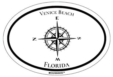 WickedGoodz Oval Venice Beach Florida Vinyl Decal, Nautical Compass Bumper Sticker, FLA Vacation Souvenir Gift-WickedGoodz
