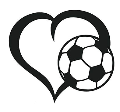 WickedGoodz Die Cut Heart Soccer Ball Decal Perfect Soccer Gift-WickedGoodz