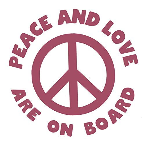 Custom Vinyl Peace and Love on Board Decal - Baby on Board Bumper Sticker - for Tumblers, Laptops, Car Windows - Choose Color and Size-WickedGoodz