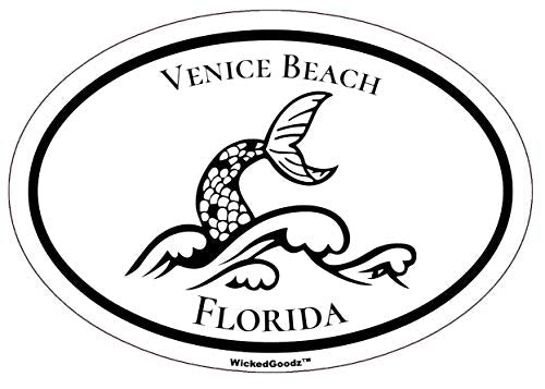 WickedGoodz Oval Venice Beach Florida Vinyl Decal - Mermaid Bumper Sticker - FLA Vacation Souvenir Gift-WickedGoodz