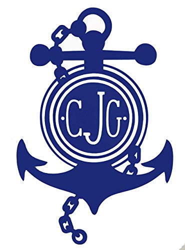 Custom Initial Monogram Vinyl Decal Bumper Sticker, for Tumblers, Laptops, Car Windows - Personalized Letter Chained Nautical Anchor Design-WickedGoodz