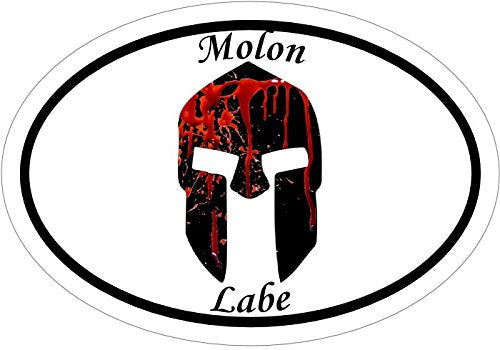 Oval Vinyl Spartan Helmet Decal - Molon Labe Bumper Sticker-WickedGoodz