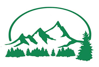 Personalized Forrest and Mountain Vinyl Decal - Nature Hiking Bumper Sticker, for Tumblers, Laptops, Car Windows - Pick Size and Color-WickedGoodz