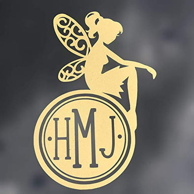 Custom Sitting Fairy Monogram Vinyl Faerie Decal - Folk Initial Bumper Sticker, for Tumblers, Laptops, Car Windows- Fairy Sticker-WickedGoodz