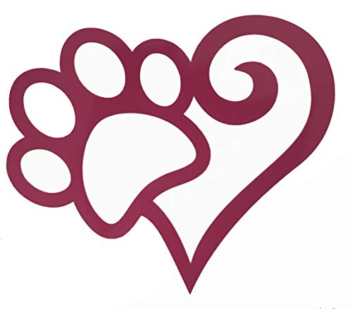 Custom Heart Shaped Pet Paw Vinyl Decal Paw Bumper Sticker-WickedGoodz