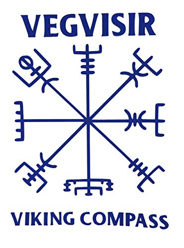 Viking Vegvisir Compass Rune Vinyl Decal - Norse Bumper Sticker, for Laptops or Car Windows - Great Scandinavian or Icelandic Heritage Gift-WickedGoodz
