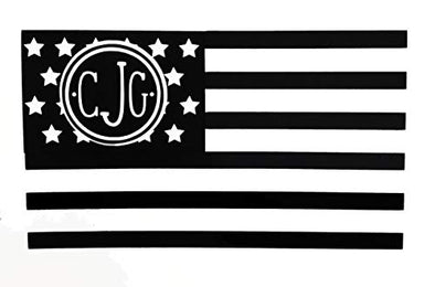 Custom Initial Monogram Decal American Flag Decal Design-WickedGoodz