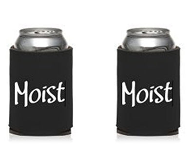 WickedGoodz Set of Two Black Moist Can Cooler - Funny Insulated Beer Can Sleeves - Moist with Definition Collapsible Can Sleeve - 12 oz Beer Can Cooler - Can Hugger - Wedding Gift - Made in the USA-WickedGoodz