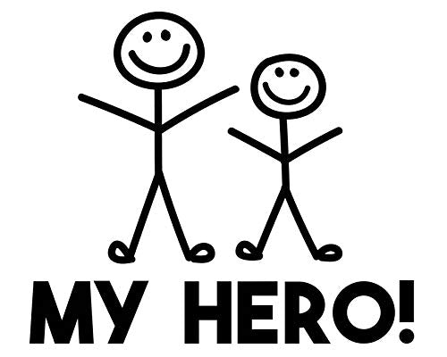 Custom My Hero Dad Vinyl Decal - Family Bumper Sticker, for Tumblers Coolers, Laptops, Car Windows - Gifts For Dads-WickedGoodz
