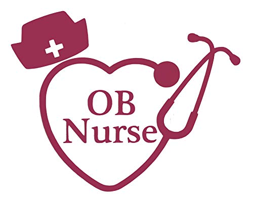 Custom OB Nurse Stethoscope Vinyl Decal - Nursing Student Bumper Sticker, for Tumblers, Laptops, Car Windows - Nursing Hat Sticker - Pick Size and Color-WickedGoodz