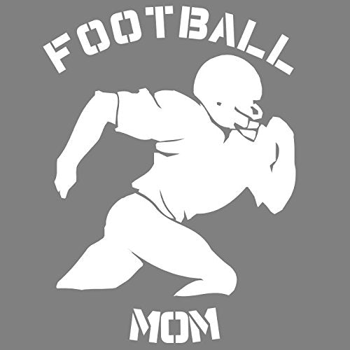 WickedGoodz White Vinyl Football Mom Running Ball Decal Transfer - Sports Bumper Sticker - Perfect Football Mother Gift-WickedGoodz
