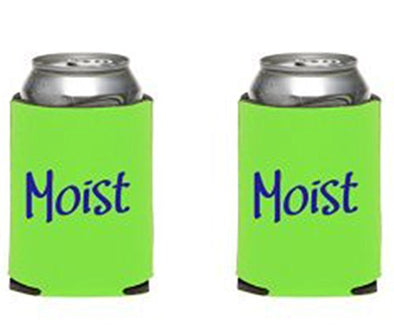 Set of 2 Green Moist Can Coolers - Funny Insulated Beer Can Sleeves - Moist with Definition Collapsible Can Sleeve - 12 oz Beer Can Cozy - Beer Hugger - Wedding Gift - Made in the USA-WickedGoodz