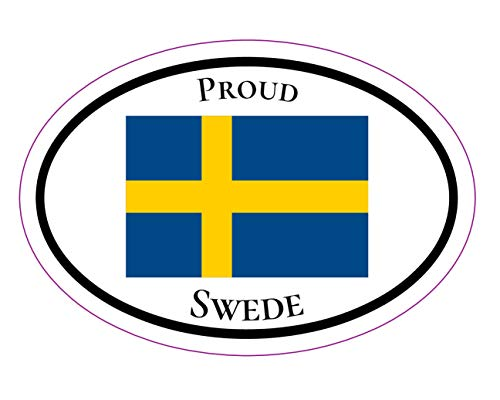 WickedGoodz Oval Proud Swede Vinyl Decal - Swedish Flag Bumper Sticker - Perfect Sweden Gift-WickedGoodz