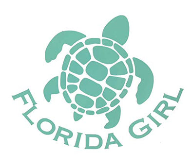 Custom Sea Turtle Florida Girl Vinyl Decal - Beach Bumper Sticker, for Tumblers, Laptops, Car Windows - Personalized FLA Gift-WickedGoodz