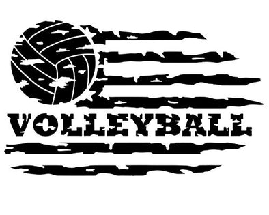 Custom Distressed Flag Volleyball Vinyl Decal-WickedGoodz