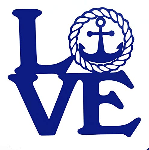 Custom Vinyl Love Nautical Anchor Sticker - Beach Love Decal, Sailing Bumper Sticker for Tumblers, Laptops, Car Windows-WickedGoodz