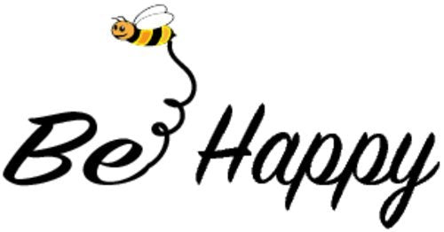 WickedGoodz Bee Happy Vinyl Window Decal - Bee Happy Bumper Sticker - Perfect Inspirational Gift-WickedGoodz