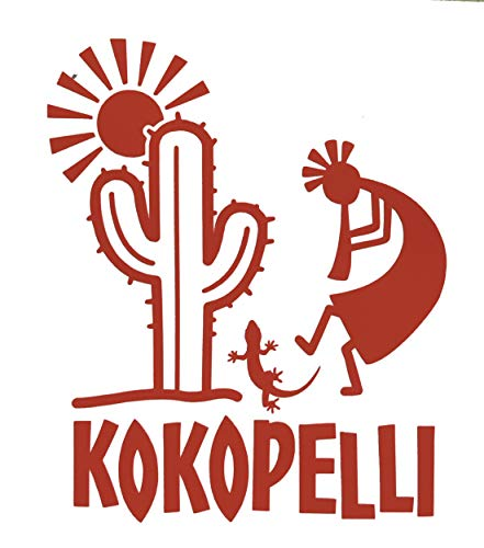 Custom Kokopelli Decal - Lizard Cactus Southwestern Bumper Sticker, for Tumblers, Laptops, Car Windows, Tribal Art Design, Pick Your Size and Color-WickedGoodz