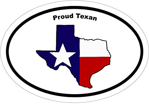 WickedGoodz Oval Vinyl Texas Flag Proud Texan Decal - Texas Bumper Sticker - Perfect Flag State Gift-WickedGoodz