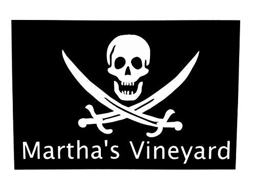 Custom Jolly Roger Pirate Marthas Vineyard Vinyl Decal - Martha's Vineyard Bumper Sticker, for Coolers, Boats, Laptops, Car Windows, Pick Size and Color-WickedGoodz