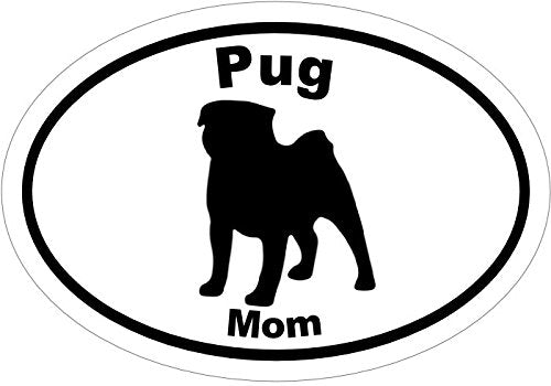 WickedGoodz Oval Vinyl Pug Mom Decal, Dog Bumper Sticker, Pet Owner Gift-WickedGoodz