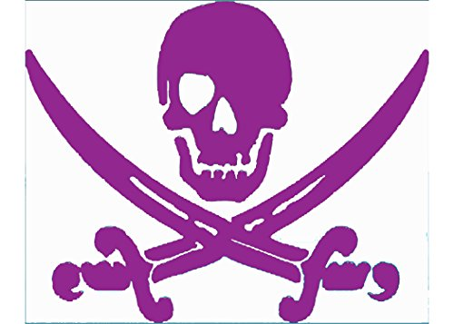 WickedGoodz Purple Pirate Skull & Swords Vinyl Window Decal Transfer - Beach Bumper Stickers - Perfect Ocean Vacation Souvenir Gift-WickedGoodz
