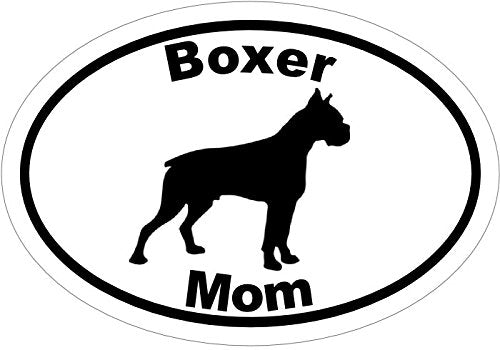 WickedGoodz Oval Vinyl Boxer Mom Decal, Dog Bumper Sticker, Pet Owner Gift-WickedGoodz
