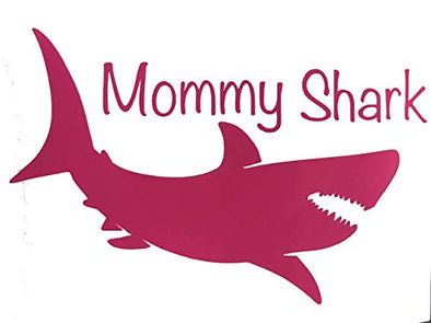 Custom Vinyl Mommy Shark Decal - Personalized Bumper Sticker, Tumblers Windows, Walls, Scrapbooks, Cups, Cars-WickedGoodz