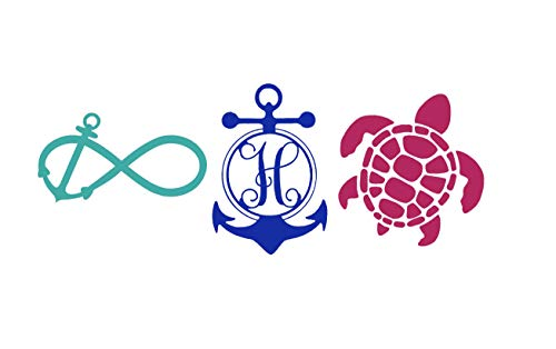 Custom Tropical Beach Decal Gift Set - Infinity Loop Anchor, Sea Turtle, Anchor Monogram Sticker Bundle - Tropical Bumper Sticker, for Tumblers, Laptops, Car Windows - 3pc Set Pick Size and Color-WickedGoodz