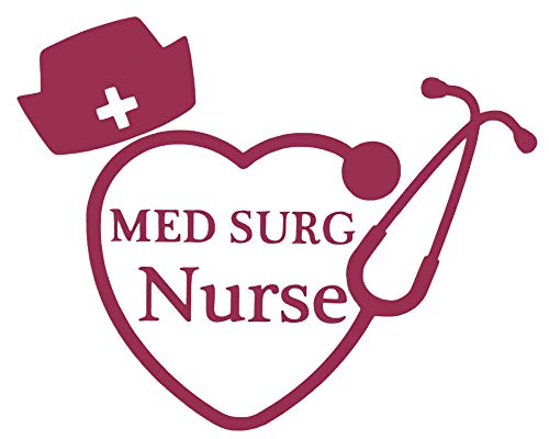 Custom Med Surg Nurse Stethoscope Vinyl Decal - Nursing Student Bumper Sticker, for Tumblers, Laptops, Car Windows - Nursing Hat Sticker - Pick Size and Color-WickedGoodz