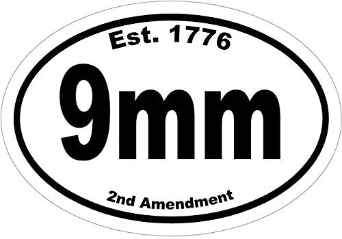Oval Vinyl Est.1776 9mm Decal, 2nd Amendment Bumper Sticker, Gun Gift-WickedGoodz