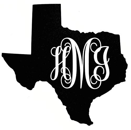 Custom Texas Vine Monogram Vinyl Decal Bumper Sticker, for Tumblers, Laptops, Car Windows - Fancy Letter Initial Design-WickedGoodz