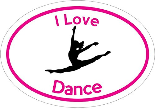 WickedGoodz Oval Pink I Love Dance Vinyl Decal - Dance Bumper Sticker - Perfect Dancing Mother Instructor Gift-WickedGoodz