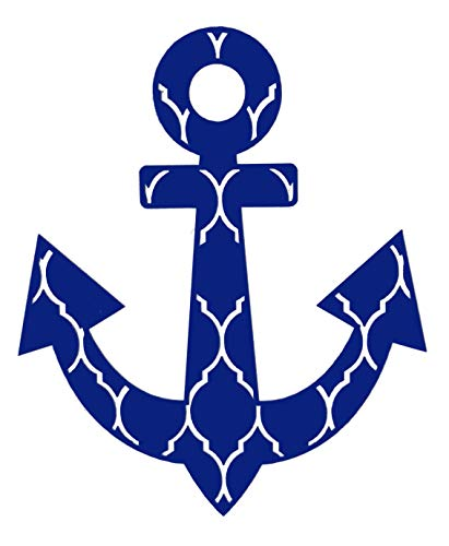 WickedGoodz Custom Vinyl Striped Anchor Decal - Nautical Bumper Sticker, for Tumblers, Laptops, Car Windows - Pick Size and Color-WickedGoodz
