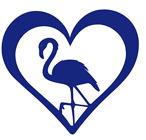 Personalized Heart Shaped Flamingo Vinyl Decal - Tropical Beach Bumper Sticker, for Tumblers, Laptops, Car Windows - Pick Size and Color-WickedGoodz