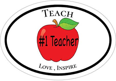 WickedGoodz Oval Teach Love Inspire Teacher Vinyl Decal-WickedGoodz