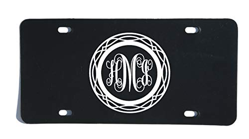 Personalized Monogram Vanity Plate, Circle Script Letter Design Style 2-WickedGoodz