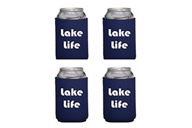 WickedGoodz Set of Four Lake Life Insulated Neoprene Can Coolers - Lake Life What Happens at the Lake stays at the Lake Can Sleeves - 12oz Can Insulated Can Cozy-WickedGoodz