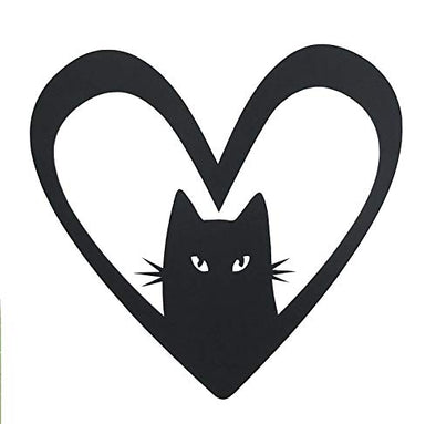 Custom Vinyl Kitty Heart Decal - Cat Bumper Sticker, for Tumblers, Laptops, Car Windows - Pick Your Size and Color-WickedGoodz