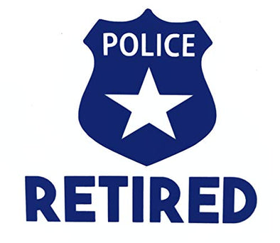 Custom Retired Police Vinyl Decal - Officer Bumper Sticker, for Laptops or Car Windows - Pick Size and Color Vinyl Transfer-WickedGoodz