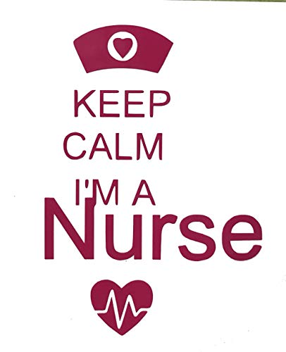 Custom Keep Calm Nurse Vinyl Decal - Nursing Bumper Sticker, for Tumblers, Laptops, Car Windows - Pick Size and Color-WickedGoodz