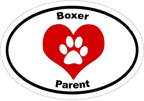 WickedGoodz Oval Vinyl Pawprint Heart Boxer Decal - Dog Bumper Sticker - Perfect Pet Owner Gift-WickedGoodz